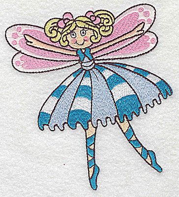 Embroidery Design: Dancing Fairy J large 4.37w X 4.93h