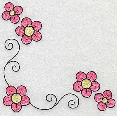 Embroidery Design: Floral corner swirls large 4.82w X 4.71h