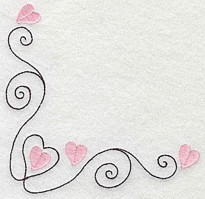 Embroidery Design: Corner heart swirl large 4.89w X 4.92h