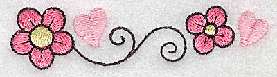 Embroidery Design: Flowers hearts and swirls small 3.72w X 0.92h