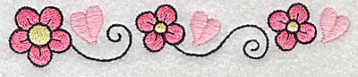 Embroidery Design: Flowers hearts and swirls large 4.96w X 0.89h