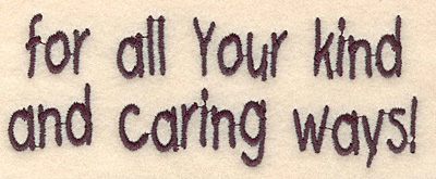 Embroidery Design: Caring ways large 4.89w X 1.86h