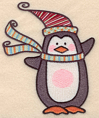 """Embroidery Design: Penguin large5.00""""H x 4.08""""W"""