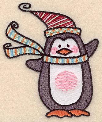 """Embroidery Design: Penguin applique small3.83""""H x 3.13""""W"""