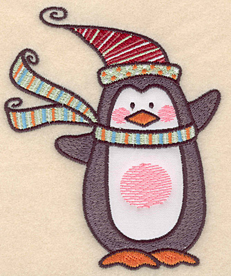 "Embroidery Design: Penguin applique large5.00""H x 4.08""W"