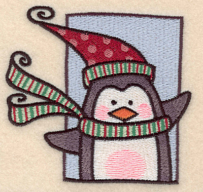 """Embroidery Design: Penguin in frame large3.70""""H x 3.93""""W"""