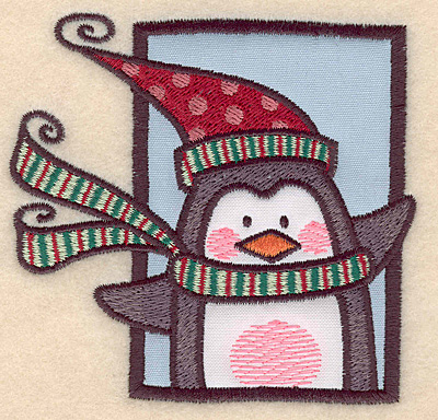 """Embroidery Design: Penguin in frame double applique3.76""""H x 3.92""""W"""
