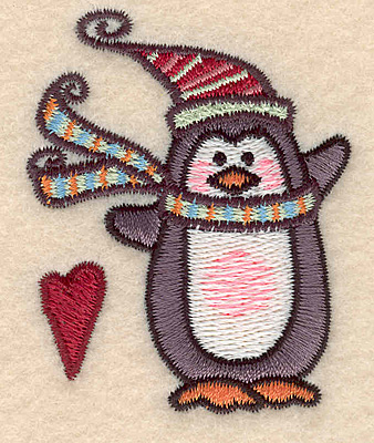 "Embroidery Design: Penguin with heart2.48""H x 1.99""W"