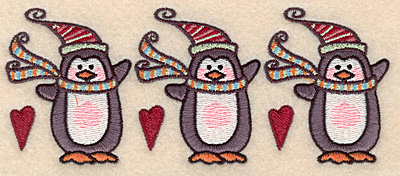 "Embroidery Design: Pengin border2.48""H x 6.08""W"