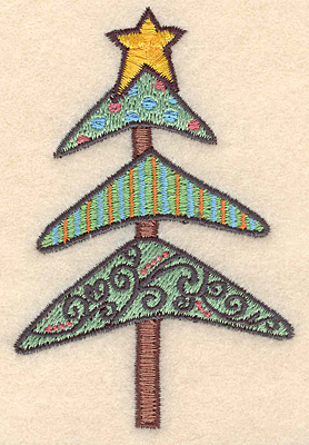 """Embroidery Design: Christmas tree small3.68""""H X 2.42""""W"""