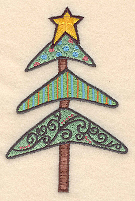 """Embroidery Design: Christmas tree large4.82""""H x 3.16""""W"""