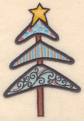 """Embroidery Design: Christmas tree decorated applique5.00""""H x 3.36""""W"""