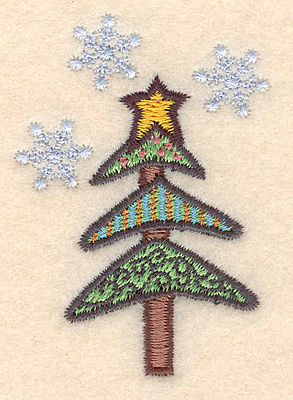 """Embroidery Design: Christmas tree with snowflakes2.54""""H x 1.78""""W"""