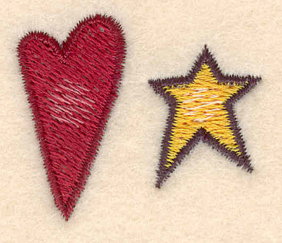 "Embroidery Design: Heart star1.32""H x 1.54""W"