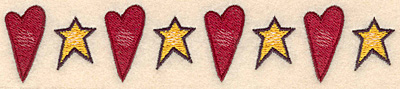 "Embroidery Design: Heart star border1.32""H x 6.56""W"