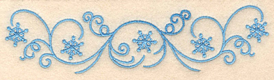 "Embroidery Design: Snowflake swirl border1.59""H x 6.36""W"