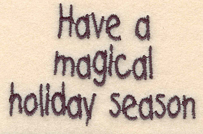 """Embroidery Design: Magical holiday small1.99""""H x 3.08""""W"""