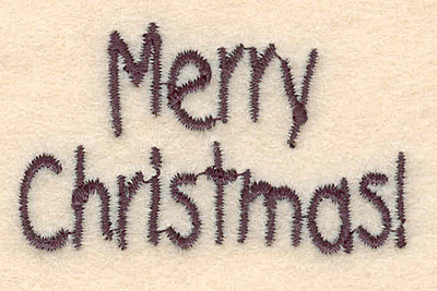 """Embroidery Design: Merry Christmas small1.25""""H x 2.08""""W"""