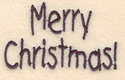"""Embroidery Design: Merry Christmas large1.67""""H x 2.78""""W"""