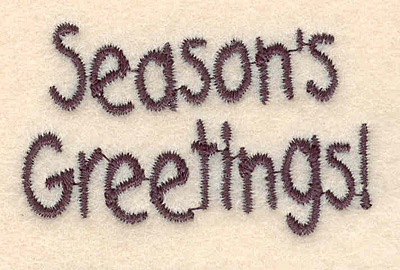 """Embroidery Design: Season's Greetings small1.35""""H x 2.09""""W"""