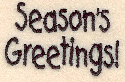 """Embroidery Design: Season's Greetings large1.80""""H x 2.79""""W"""