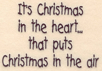 """Embroidery Design: Christmas in the heart large3.85""""H x 5.63""""W"""
