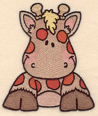 """Embroidery Design: Giraffe front view large5.00""""H x 4.23""""W"""