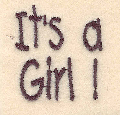 """Embroidery Design: It's a girl large1.60""""H x 1.45""""W"""
