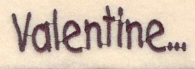 """Embroidery Design: Valentine large0.83""""H x 3.00""""W"""