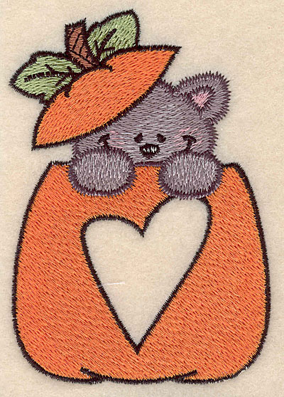"""Embroidery Design: Pumpkin with kitten and heart small 2.98""""w X 4.21""""h"""
