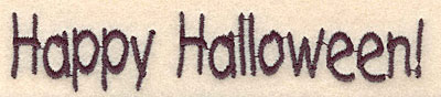 """Embroidery Design: Happy Halloween large 4.73""""w X 0.91""""h"""