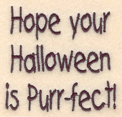 """Embroidery Design: Halloween perrfect large 3.00""""w X 2.87""""h"""