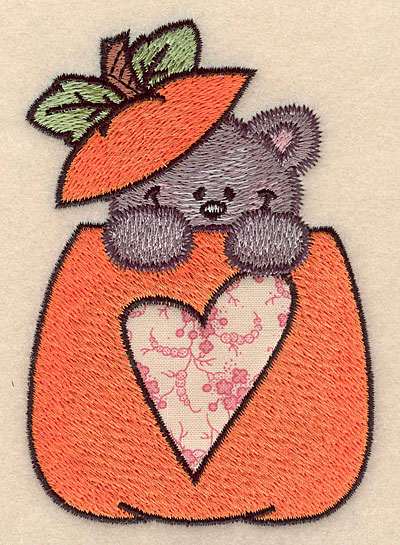 """Embroidery Design: Pumpkin with kitten heart applique small 2.98""""w X 4.21""""h"""