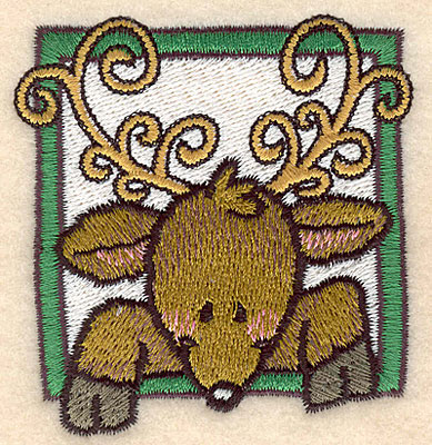 Embroidery Design: Reindeer head in frame large2.81w X 3.01h
