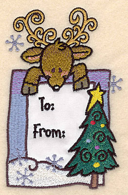 Embroidery Design: Reindeer with Christmas tree large applique3.19w X 5.00h