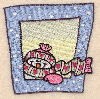 """Embroidery Design: Snowman with scarf and hat small 3.10""""w X 2.87""""h"""