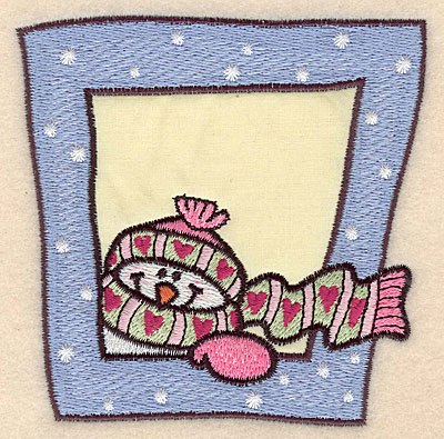 """Embroidery Design: Snowman with scarf and hat applique 4.07""""w X 4.03""""h"""