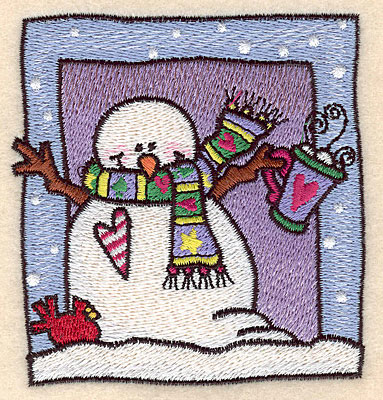 """Embroidery Design: Snowman with hot cocoa small 3.43""""w X 3.63""""h"""