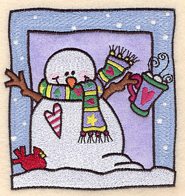 "Embroidery Design: Snowman with hot cocoa applique 4.46""w X 4.70""h"