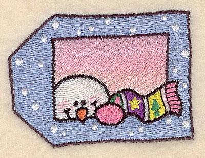 "Embroidery Design: Snowman tag small 3.07""w X 2.23""h"