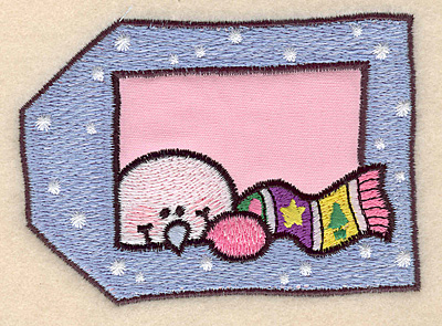 "Embroidery Design: Snowman tag large applique 3.99""w X 2.90""h"
