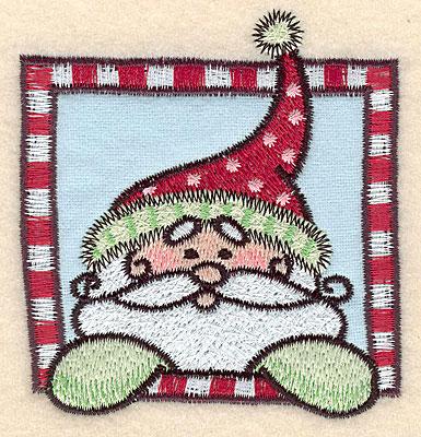 "Embroidery Design: Santa in frame applique3.33""H x 3.09""W"