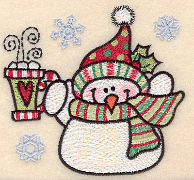 "Embroidery Design: Snowman with mug large4.09""H x 4.35""W"