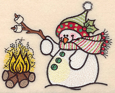 "Embroidery Design: Snowman at fire large4.55""H x 5.65""W"