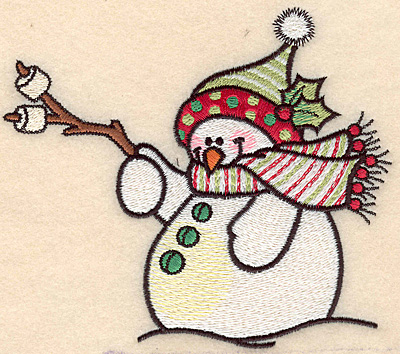 "Embroidery Design: Snowman with marshmallows large4.55""H x 5.16""W"