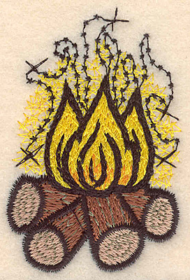 "Embroidery Design: Fire large2.65""H x 1.73""W"
