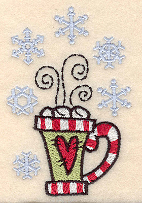 "Embroidery Design: Mug with snowflakes3.90""H x 2.57""W"