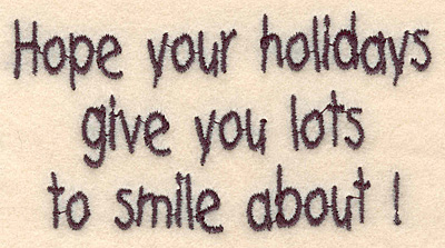 "Embroidery Design: Holidays smile small2.13""H x 4.00""W"
