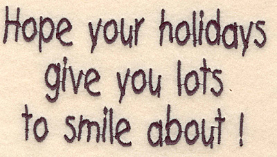 "Embroidery Design: Holidays smile large2.85""H x 2.35""W"