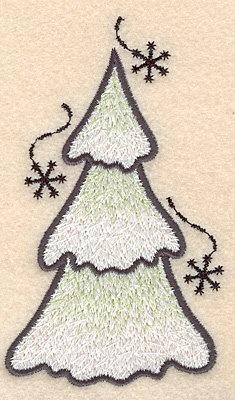 """Embroidery Design: Evergreen large4.50""""H x 2.68""""W"""